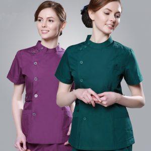 2018 Summer women hospital medical scrub clothes set fashionable design slim fit dental scrubs beauty salon men nurse uniform