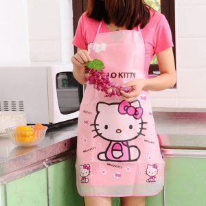 % 5 designs cartoon hello kitty doraemon Apron Sleeveless Waterproof Anti-oil Aprons kitchen cooking Waist Bib Women apron BBQ