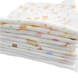 5pcs 100% Cotton Gauze Newborn Baby Infant Cartoon Face Hand Bathing Towel Bibs 31*31cm Feeding Square Towels Handkerchief