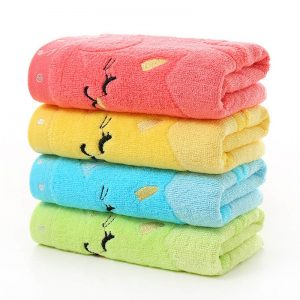 Antibacterial Non-twisted Bath Towel Music Cat Pattern Bathroom Accessories 1Pcs Bamboo Fiber Wash Towels 25*50CM
