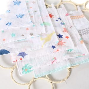 Bamboo Fiber Baby Wash Cloth 27cm*27cm 4 Layer Multi Functional Muslin Cloth Cotton Baby Girl Boy Infant 3 pieces