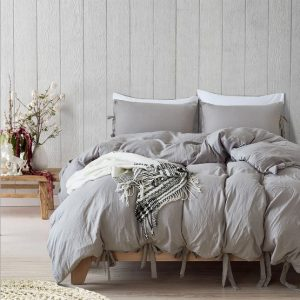 CAMMITEVER Bedding Set King Luxury Cotton Hotel Bedding Sets Solid Bed Cover Queen Size Ties Duvet Cover Bedding Kit
