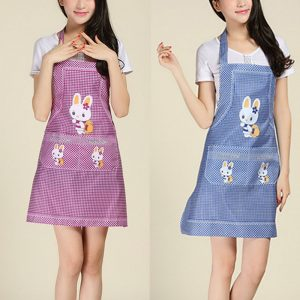 Cartoon Kitchen Cooking Apron Rabbit Sleeveless Double Pocket Household Cleaning Aprons for Adults Women Lady Cloth Protect