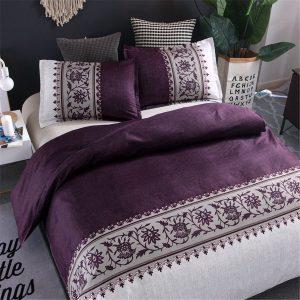 Double Queen K ing 3PCS Bedding Set Purple Duvet Quilt Cover Bed Pillow Cases Set Hotel Home Textiles Bedding Supplies