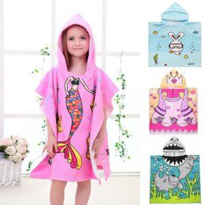 New Children Cute Cartoon Hooded Cloak Beach Towel Animal Printed Microfiber Baby Boys Girls Kids Swimming Bath Towel 120x60cm