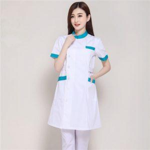 New Summer Short Sleeve Female White Lab Coat Medical Clothes Doctors Uniforms Hospital Cloth Beauty Salon Pharmacy Workwear