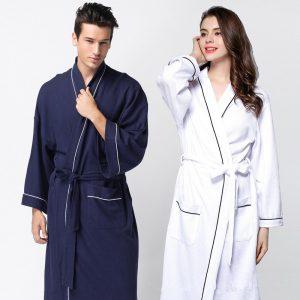 Summer Mens Lounge Robes Hotel Cotton Solid Nightgowns Bathrobe Suck Sweat Bath Towels Gown Male Lounge Robe Thin Sleepwear