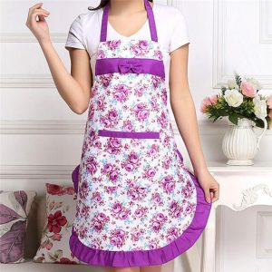 Top Seeling Women Floral Waterproof Anti-oil Kitchen Cooking Restaurant Cleaning Apron Creative Aprons for Woman Outsides BBQ