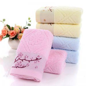 Twistless Plain Coloured Cotton Branch Plum Blossom Short Towels