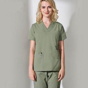 Unisex Medical Scrub Sets Short Sleeve Nurses Uniform Doctors Clothing Set Dental Clinic Work Overalls Surgical Gown Lab Coat