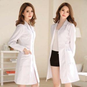 White Coat Long Sleeve Doctor Dress Female Doctor Dress White Coat Short Sleeve Men Slim Nurse Suit Clothes Uniform