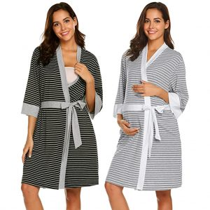 Women's Ladies Hot Sale Maternity Nursing Stripe Robe Delivery Nightgowns Hospital Breastfeeding Gown MAR12